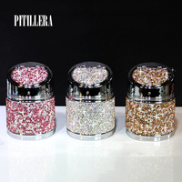 PITILLERA Luxury Inlaid Diamond Car Ashtray With Lid 1PC Multifunctional Drill Car Ashtray Creative Manual Ladies