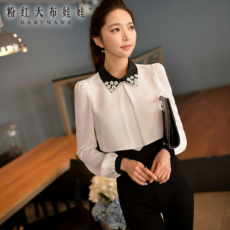 Dabuwawa fall 2016 long sleeved shirt female autumn fashion big size slim all match white chiffon