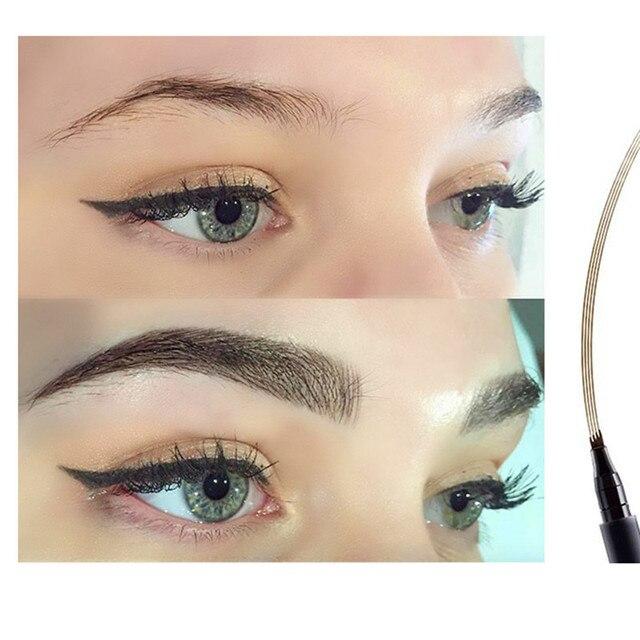 LULAA Four Heads Eyebrow Pen Waterproof Eyebrow Pencil Tattoo Tint Long Lasting Liquid Eye brow Gray Brown Black  Brush Makeup 4