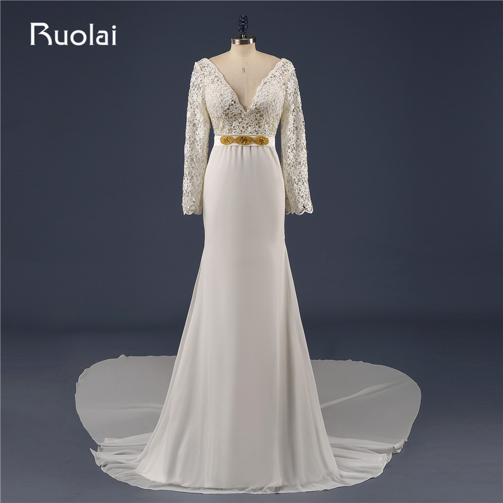 Real Sexy Wedding Dresses Long Sleeves V Neck Lace Top