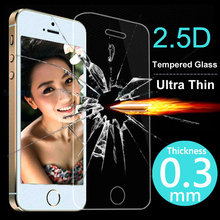 2014 New 0.3mm 2.5D Ultrathin Premium Tempered Glass Screen Protector For iphone 5 5s 5c Protective Film Send Gift Free Shipping