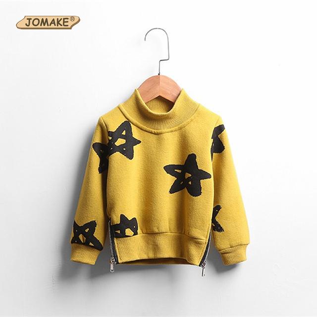 Modelo de estrella de Los Niños de Cuello Alto de Lana Camiseta Sudadera Pulóver Moda Lados Doble Cremallera Casual Boys And Girls Clothing