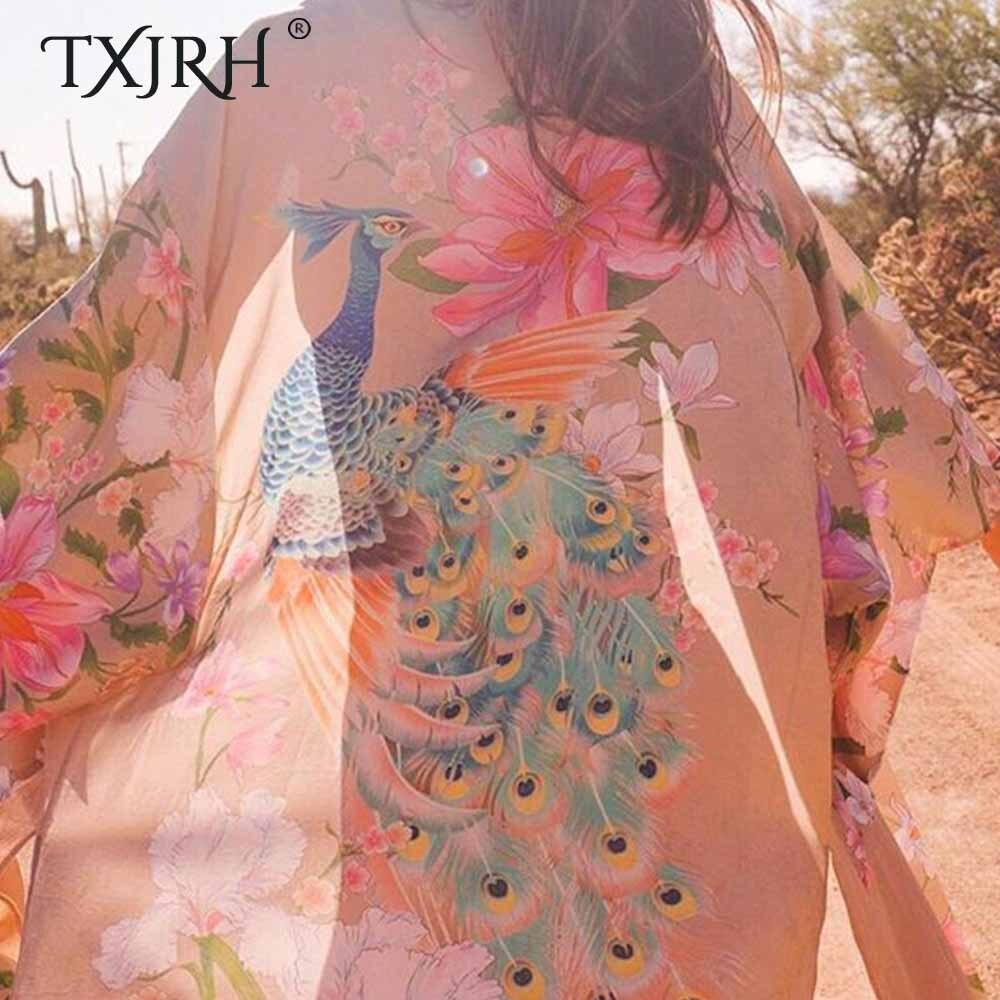 Image 5 - TXJRH Waterfall Maxi Robe Bohemian Ethnic Peacock Floral Print Long Kimono Cardigan Shirt Tied Bow Sashes Blouse Split Hem Tops-in Blouses & Shirts from Women's Clothing