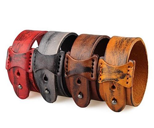 fashion mens snap jewelry wide cuff bracelets & bangles,punk genuine leather bracelet men color belt wrap h love bracelet