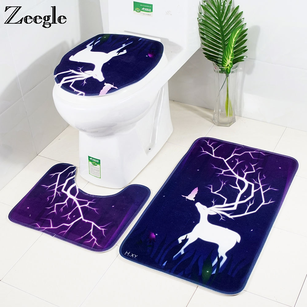 Zeegle Flannel Carpet <font><b>Bathroom</b></font> Bath <font><b>Mats</b></font> Set <font><b>Deer</b></font> Printed Toilet Rug <font><b>Bathroom</b></font> Floor <font><b>Mats</b></font> Ansorbent Shower Room Carpet Bath Rugs image
