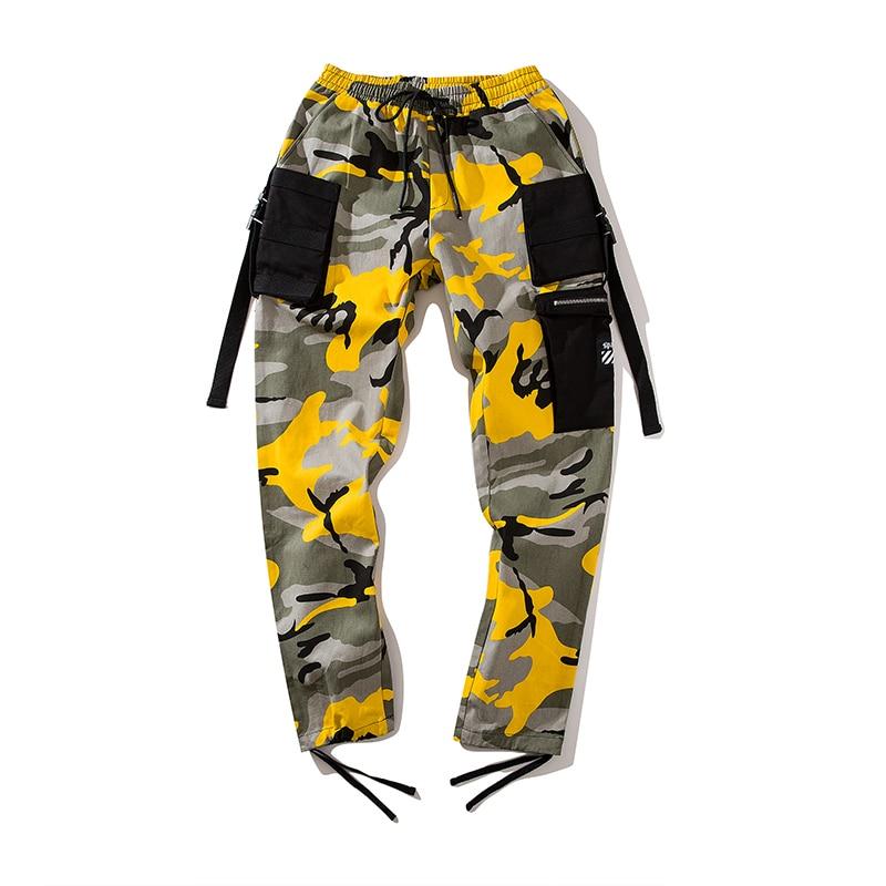 Streetwear jaune Mens Crayon Nouveau Mode Taille Street Pantalon Camouflage Noir Hommes pourpre Nous Automne Casual Hop Style 2018 Hip Jogger qd8dHgBn