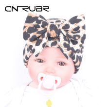 CN-RUBR New Fashion Baby Hat Leopard Printed Toddler Girls Caps Cotton 0-3M Newborn Photography Props Clothing Accessories