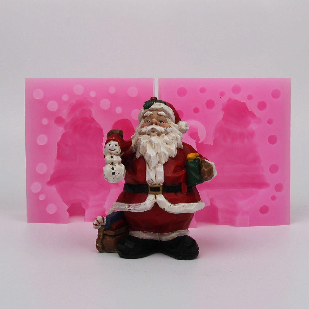 Moule en Silicone 3D Noël Père Noël articles d'ameublement à la main Résine argile plâtre décoration artisanat moule bricolage fondant gâteau outils