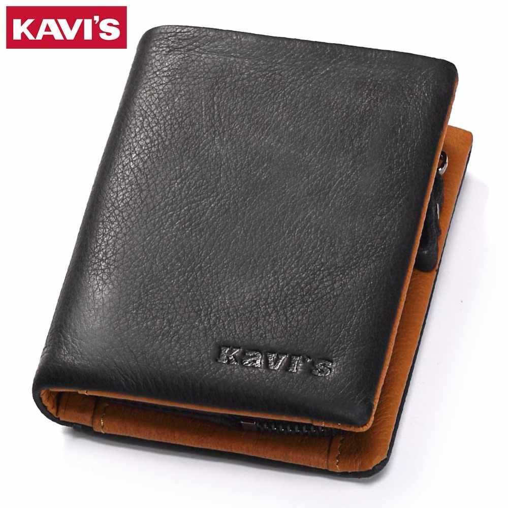 KAVIS Genuine Leather Wallet Men Coin Purse Male Cuzdan Slim Walet Portomonee Small PORTFOLIO Mini Perse Vallet Money Bag For