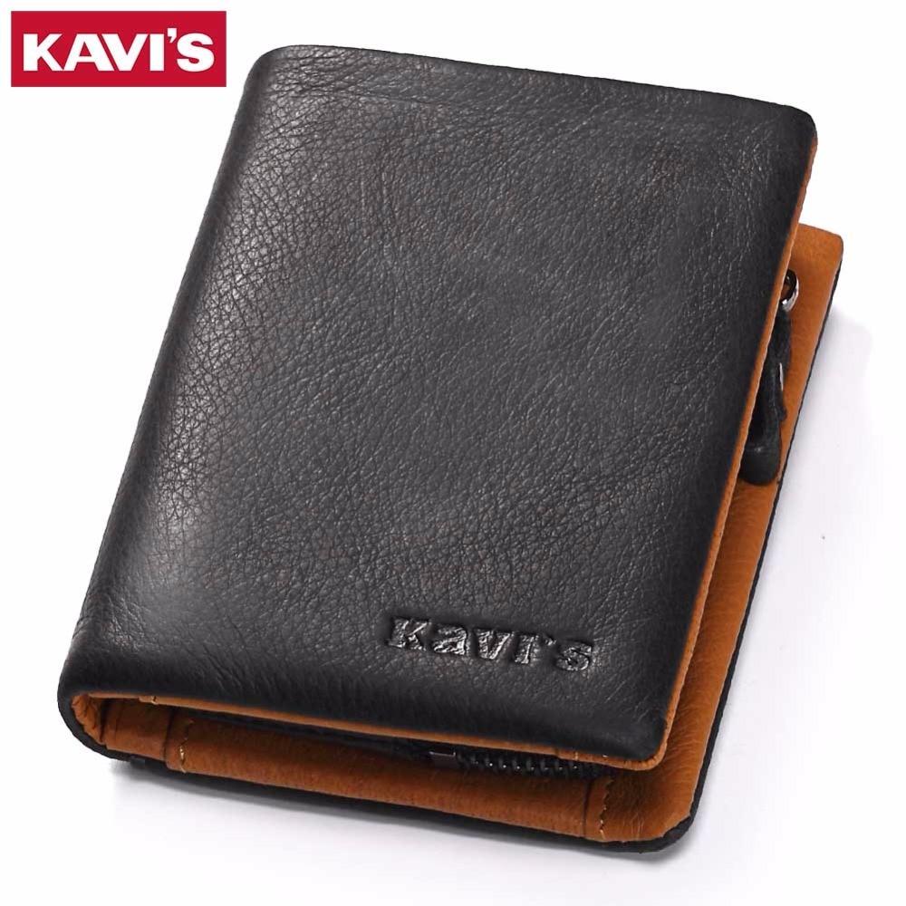KAVIS Genuine Leather Wallet Men Coin Purse Male Cuzdan Slim Walet Portomonee Small PORTFOLIO Mini Perse Vallet Money Bag For