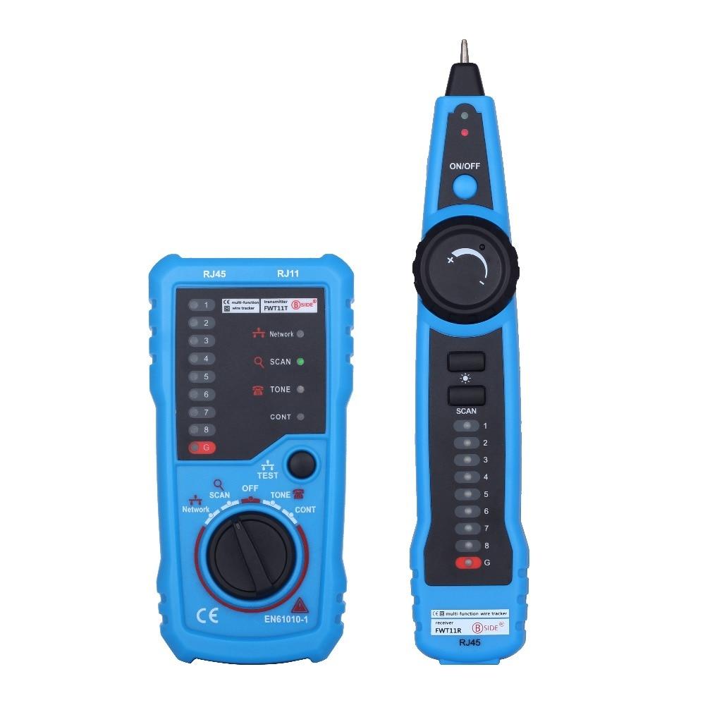 Bside fwt11 alta calidad RJ11 RJ45 CAT5 Cat6 teléfono Alambres trazador tóner Ethernet LAN Network cable tester buscador de línea