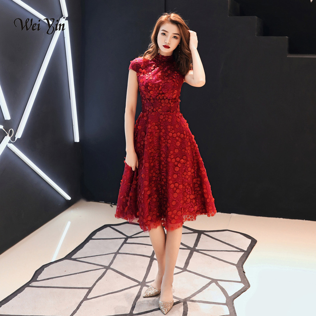 New Sleeve Wei Evening Arrival Red Wine Short Yin Dresses 2019 Lace Dress Party bY7vf6gy