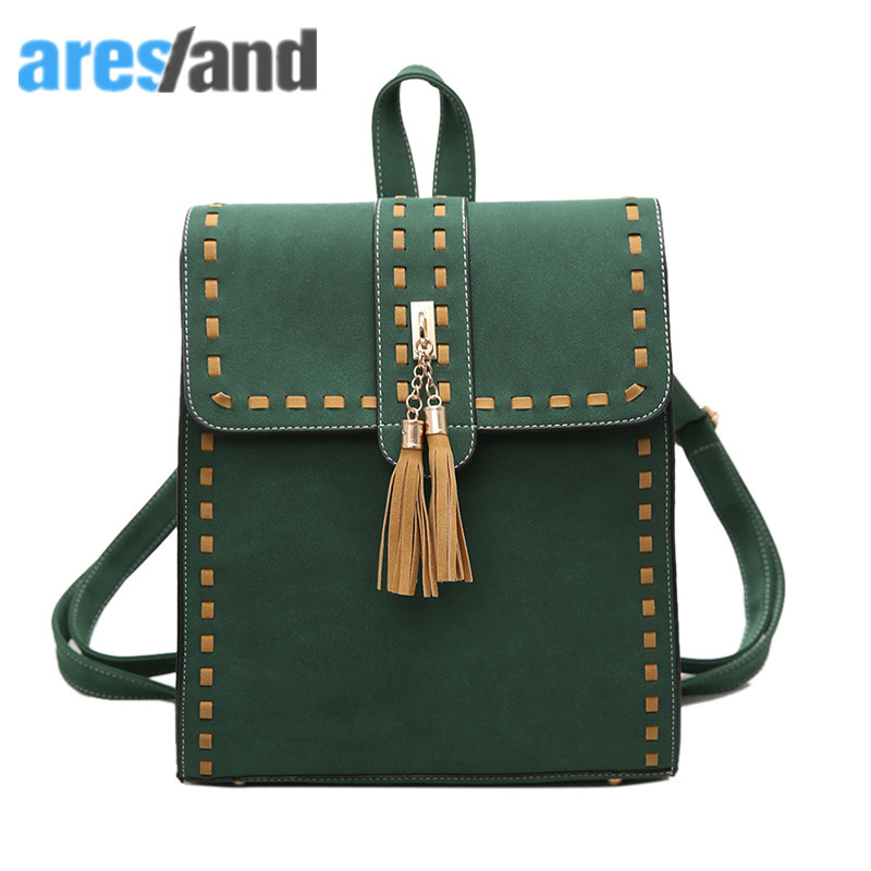 Aresland 2017 Hasp Zipper Backpack Women Panelled Threading Tassel Backpack for Teenage Girls Female Shoulder Bag
