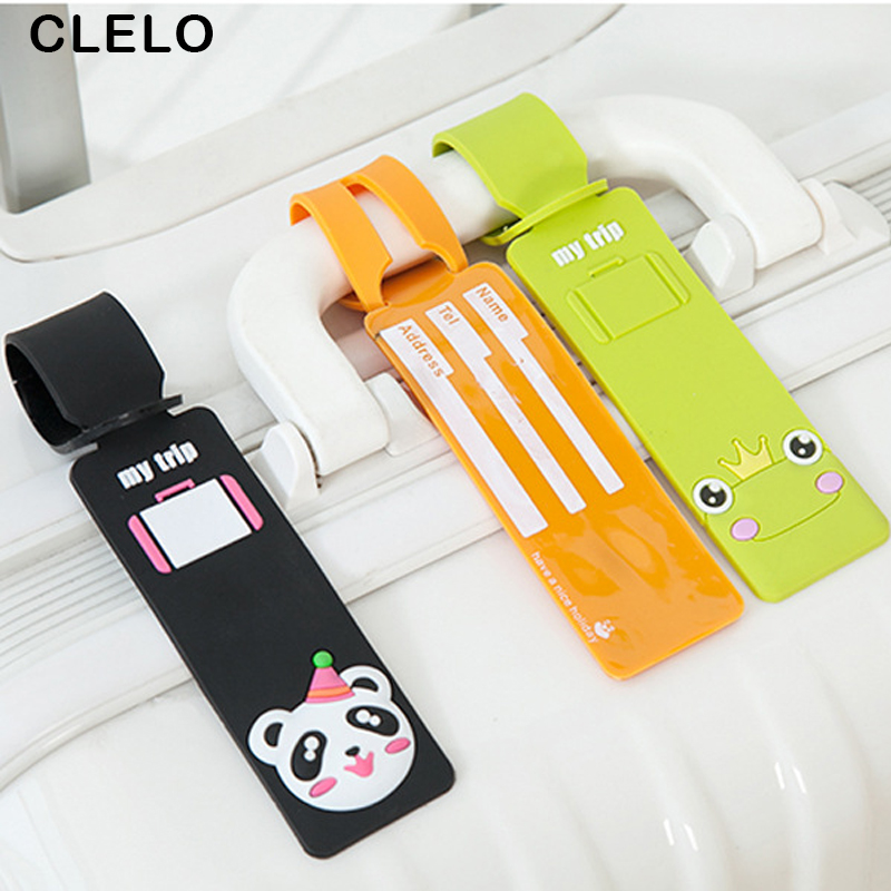 CLELO Travel Accessories Luggage Tag Lovely Cartoon suitcase silicone luggage tags ID Addres Holder Baggage Boarding Label