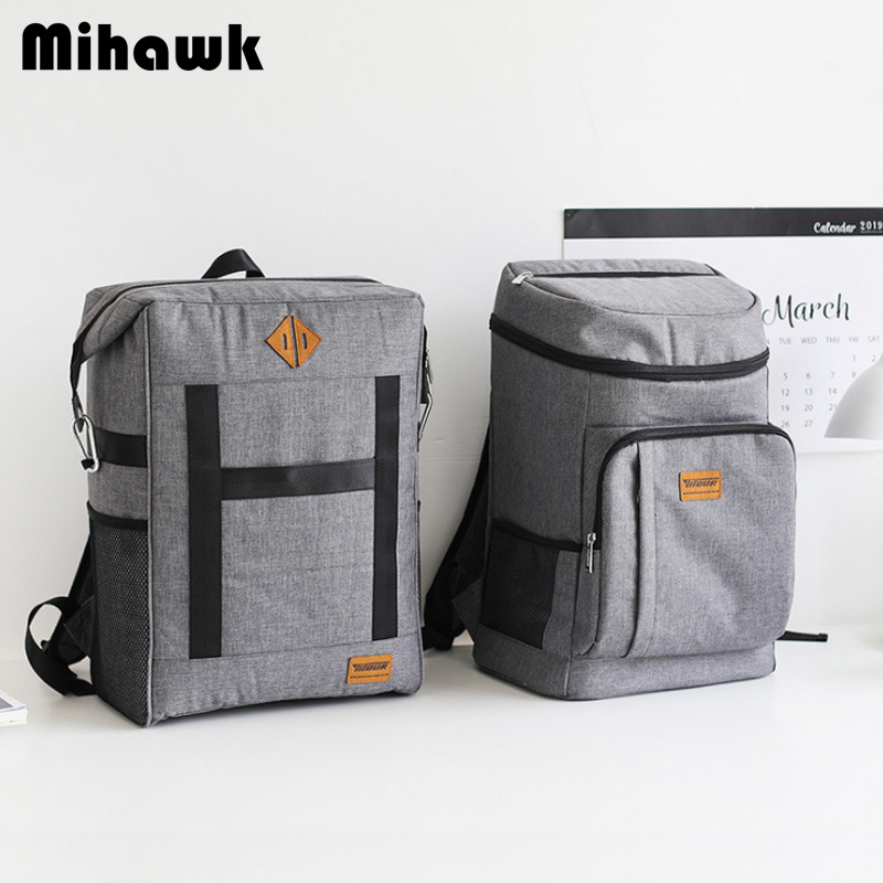 Mihawk Large Capacity Insulation Bag Food Fresh Keeping Picnic Cooler Tote Oxford Wine Lunch Package Bottle Thermal Zip Backpack