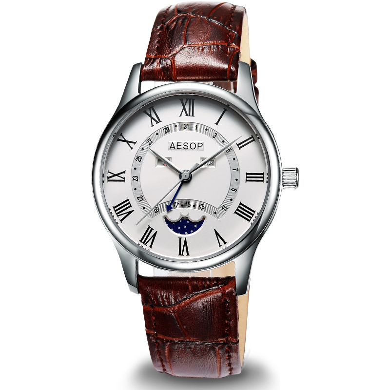AESOP thinness 9 mm classic style Watch Men Quartz Moon Phase Male Clock Genuine Leather Relogio