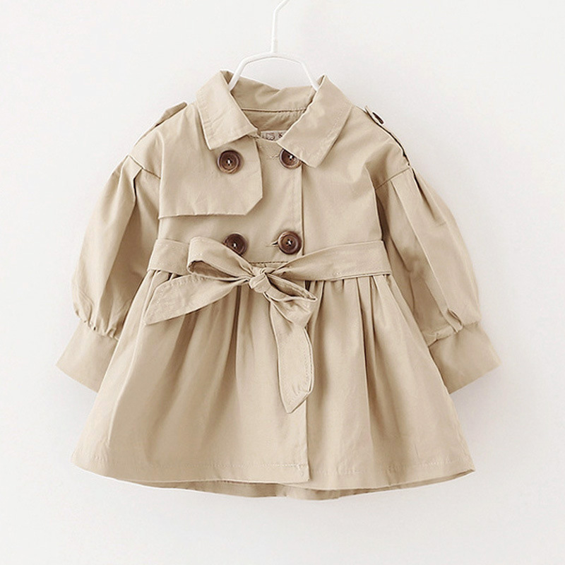 New 2017 Fashion Children s Trench Spring Long Sleeve Solid Kid s Jacket For Girls Trench