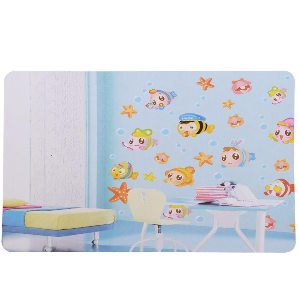 Fish Seabed Wall Decal Cartoon Waterproof Removable Sticker for Bedroom Decor