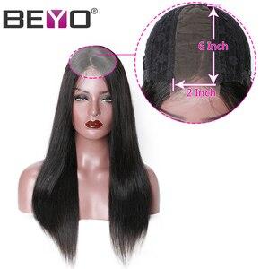 Image 2 - תחרה מול שיער טבעי פאות 2x6 תחרה סגירת פאה מראש קטף ישר תחרה מול פאה עם תינוק שיער פרואני פאת רמי Beyo שיער