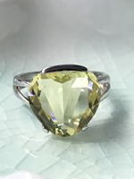 Natural Lemon Quarts Silver Ring Special Size 13mm 13mm Elegant Silver Ring For Youny Ladies