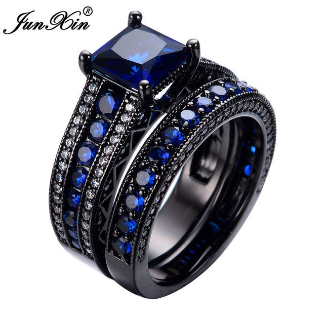junxin geometric blue ring sets black gold filled crystal jewelry vintage wedding rings for women bague - Black Gold Wedding Ring Sets