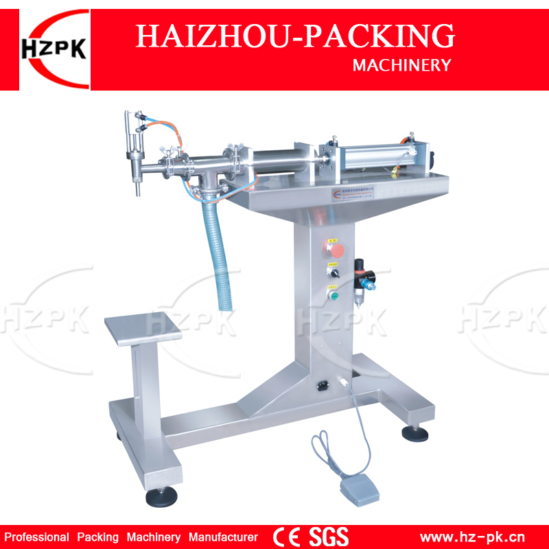 HZPK Vertical Single Head Liquid Filling Machine Electric&Pneumatic For Food Processor Filler Small Packer 1000-5000ml G1LYD5000 zonesun pneumatic a02 new manual filling machine 5 50ml for cream shampoo cosmetic liquid filler