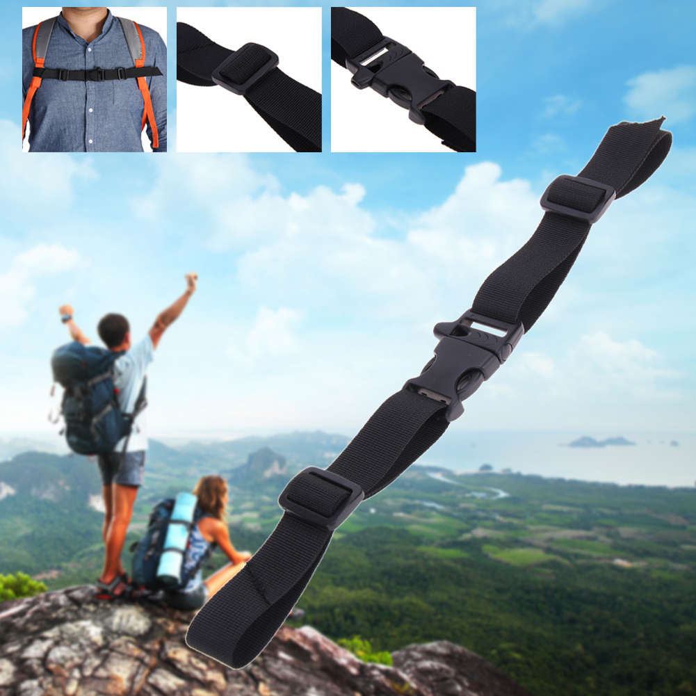 Adjustable Nylon Webbing Sternum Strap Release Curved Buckle Lightweight Backpack Chest Harness Open Clip Loop with Whistle