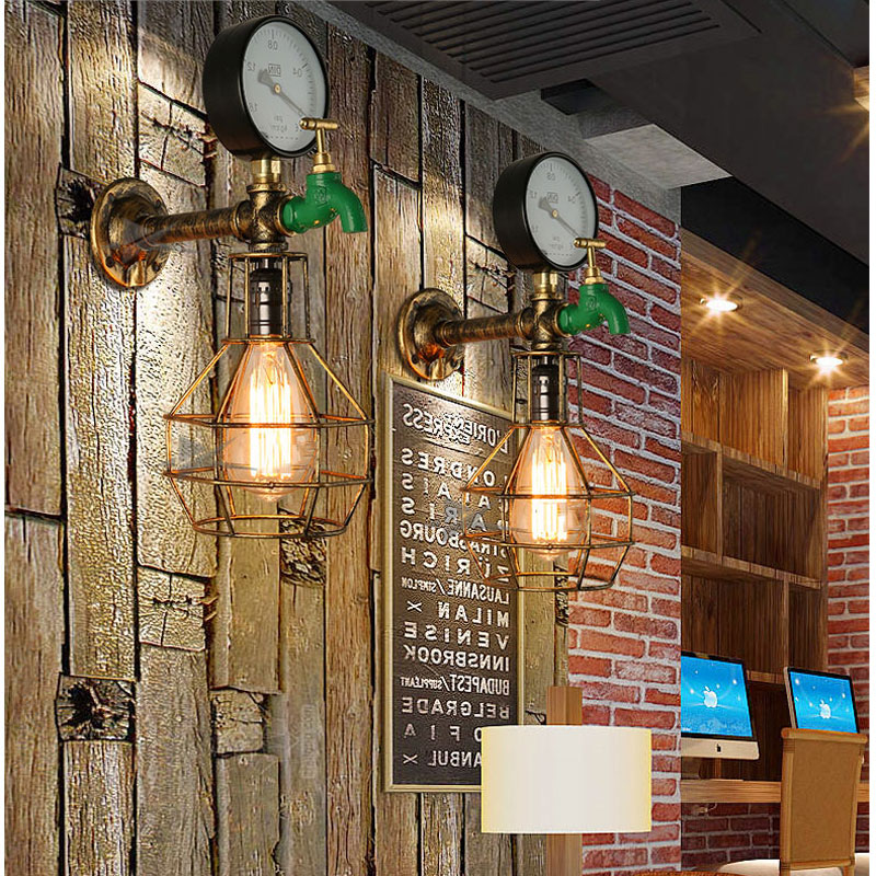 Retro Pipe Wall Light,decorative Water Meter Lighting Fixtures,retro Vintage Wall Lamp For Bedroom Stair Cafe Corridor Aisle