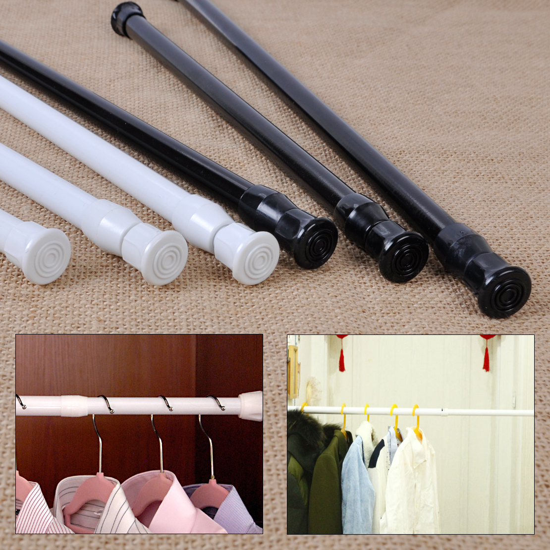 Extendable Adjustable Spring Tension Rod Pole Curtain ...