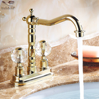 Basin Faucets Antique Rose Gold Crystal Bathroom Torneira Dual Holder Dual Hole Long Faucet Porcelain Mixer Tap YD 880