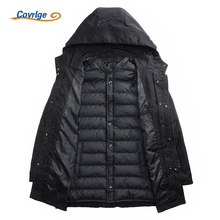 Covrlge New Cotton Parkas Men 2017 Winter Fashion Long Jacket Cold Russian Clothes Thick Padded Snow Parka Hood Overcoat MWM018