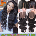 Cheap Brazilian Body Wave Closure 3.5x4 Virgin Human Hair Lace Closures Bleached Knots Free Middle 3 Part Top Lace Closure Piece