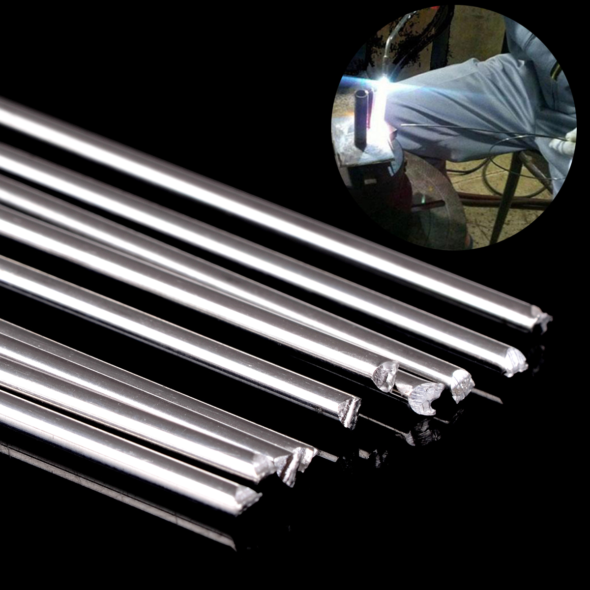 Mayitr 10pcs 1.6mm*45cm Low Temperature Metal Aluminum Magnesium Silver Welding Soldering Brazing Wire Solder TIG Filler Rod