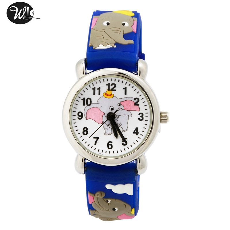 Children's Watch 3D Strap Cartoon Boy Girl Elephant Quartz Watch Pointer Electronic Waterproof Watch Child Gift Watch