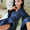 Summer sexy noble silk evening gown spring autumn female silk pajamas long - sleeved home service