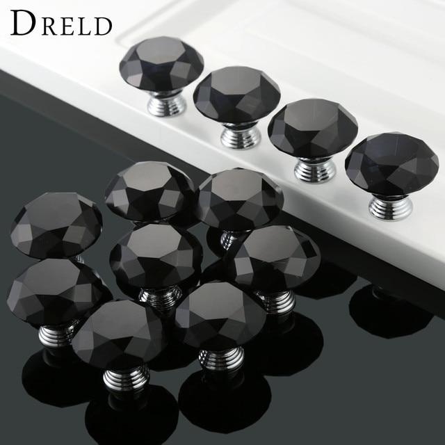 DRELD 12 Stücke 40mm Black Diamond Form Kristallglas Küchentür ...
