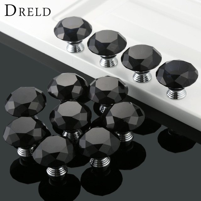 DRELD 12Pcs 40mm Black Diamond Shape Crystal Glass Kitchen Door Drawer  Wardrobe Hardware Cabinet Knobs And