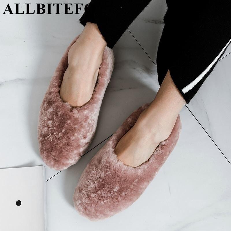 ALLBITEFO/Новинка 2019 года, зимняя теплая женская обувь из овечьей шерсти, повседневная и удобная обувь на плоской подошве, женская обувь высоког...