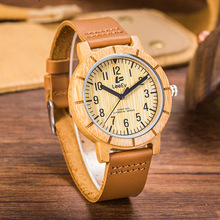 Fashion Natural Bamboo Wood Watches Men's Analog Wooden Hand