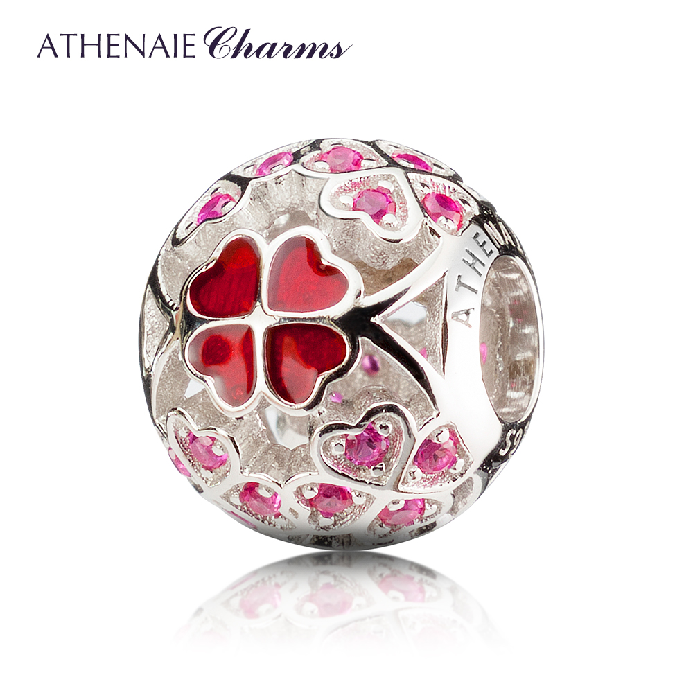 ATHENAIE 925 Sterling Silver Enamel Lucky Shamrock Best Wishes to You Charm Beads Fit All European Bracelets Necklace Color Red new s925 sterling silver bell red string rope bracelets lucky beads red thread bracelets