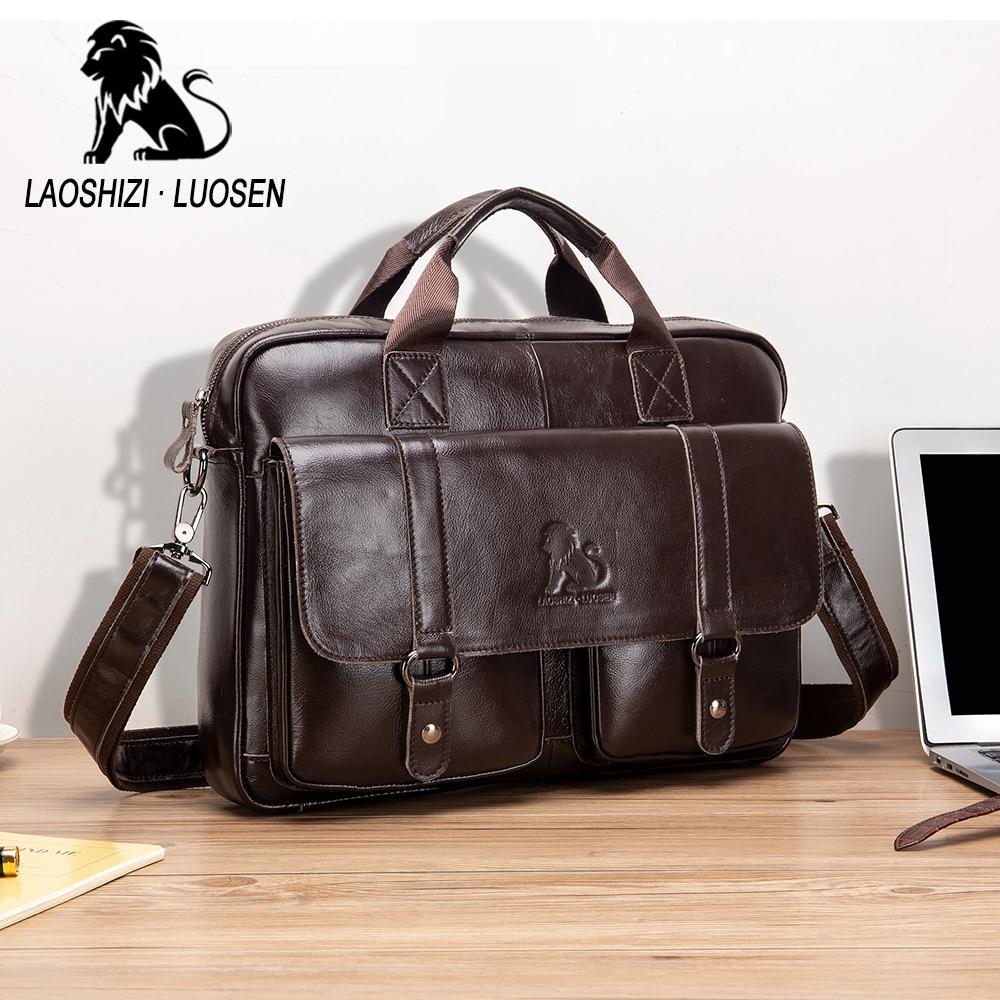 Image 5 - Business Messenger Bag Genuine Leather Men Shoulder Bag Vintage Male Casual Totes Handbag Cowhide Crossbody Bag Men-in Crossbody Bags from Luggage & Bags