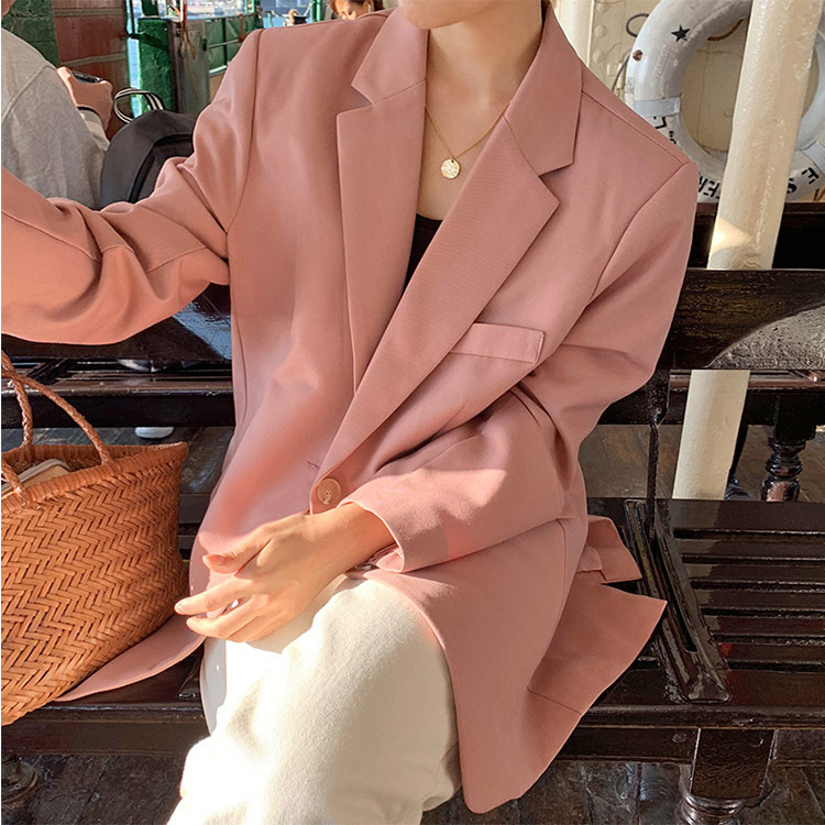2019 Spring Sweet Pink Hundred Take Medium And Long Loose Suit Jacket Button Single Breasted Solid Full Women Coat And Jackets