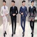 Frete grátis 2016 terno masculino Coreano mais recentes modelos casaco calça terno masculino magro noivo wedding show host peças vestido de terno