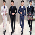 free shipping 2016 terno masculino Korean latest coat pant designs suit male slim groom wedding show host 3-piece dress suit