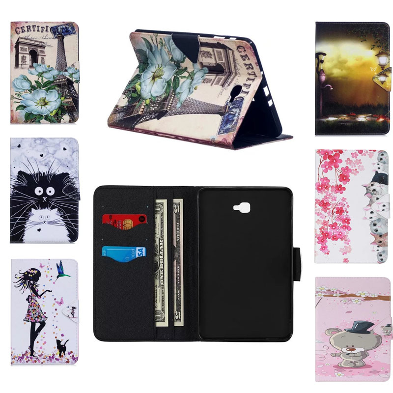 Cartoon PU Leather Flip Case For Samsung Galaxy Tab A 10.1 (2016) T580 SM-T580 Original Smart Tablet Stand Case With Card Slot luxury flip pu leather case cover for samsung galaxy tab a 10 1 2016 t580 t585 t580n t585n tablet stand cover with card slots