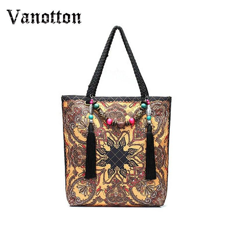 f5cc4f23f20d Брендовые модные кожаные Сумки Для женщин Tote Этническая Вышивка Сумки  цветочные ручной вышивкой Сумки высокое качество Для женщин сумка