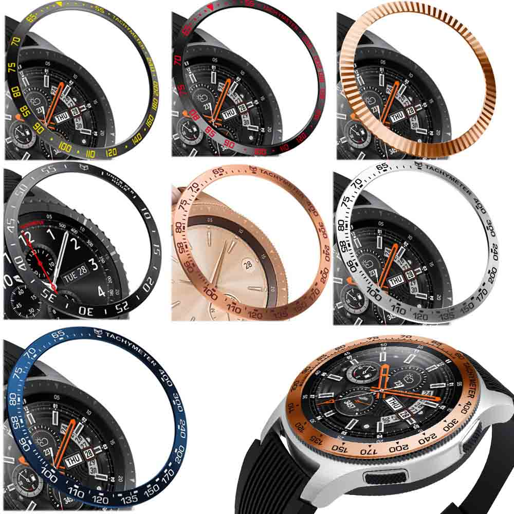 Steel For Samsung Galaxy Watch 42MM/46MM/Gear S3 Frontier Bezel Ring Adhesive Anti Scratch Metal Cover Smart Watch Accessories
