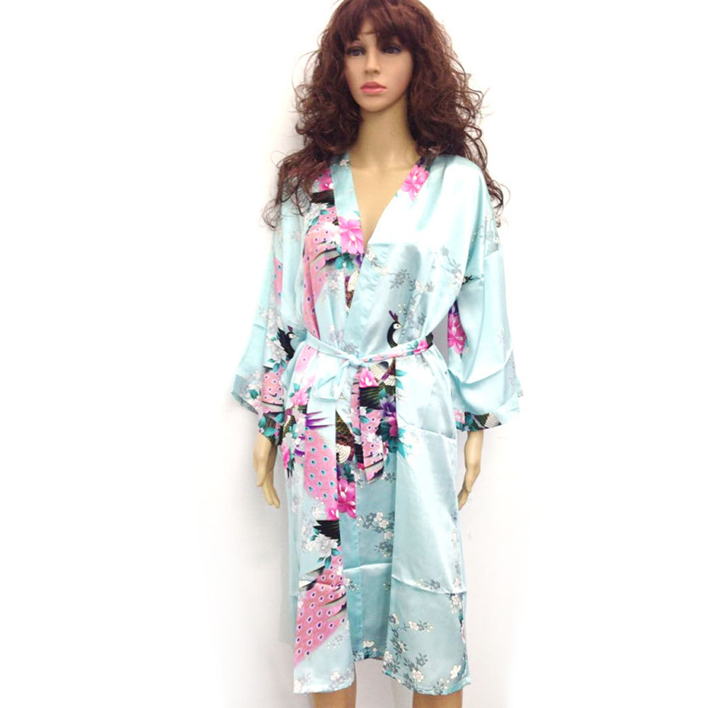 Japanese Dressing Gown: 10 Colors Plus Size 3XL Womens Floral Sleepwear Satin