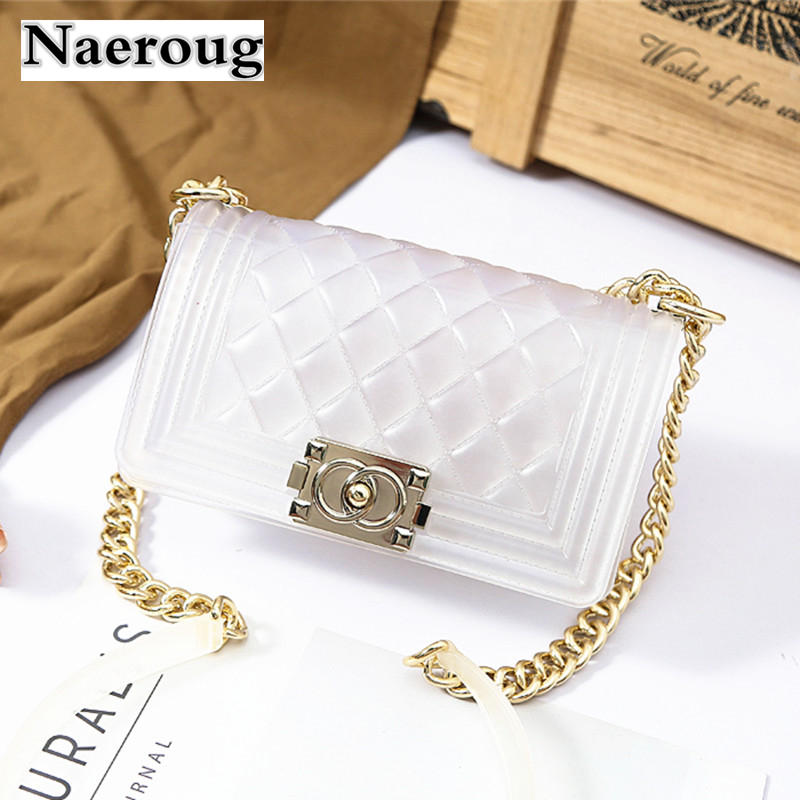 Luxury Brand Candy Color Jelly Bag Plaid Transparent Bag Golden Chain Lock Shoulder Bag Lady Clutch Purse Beach Handbag Channels