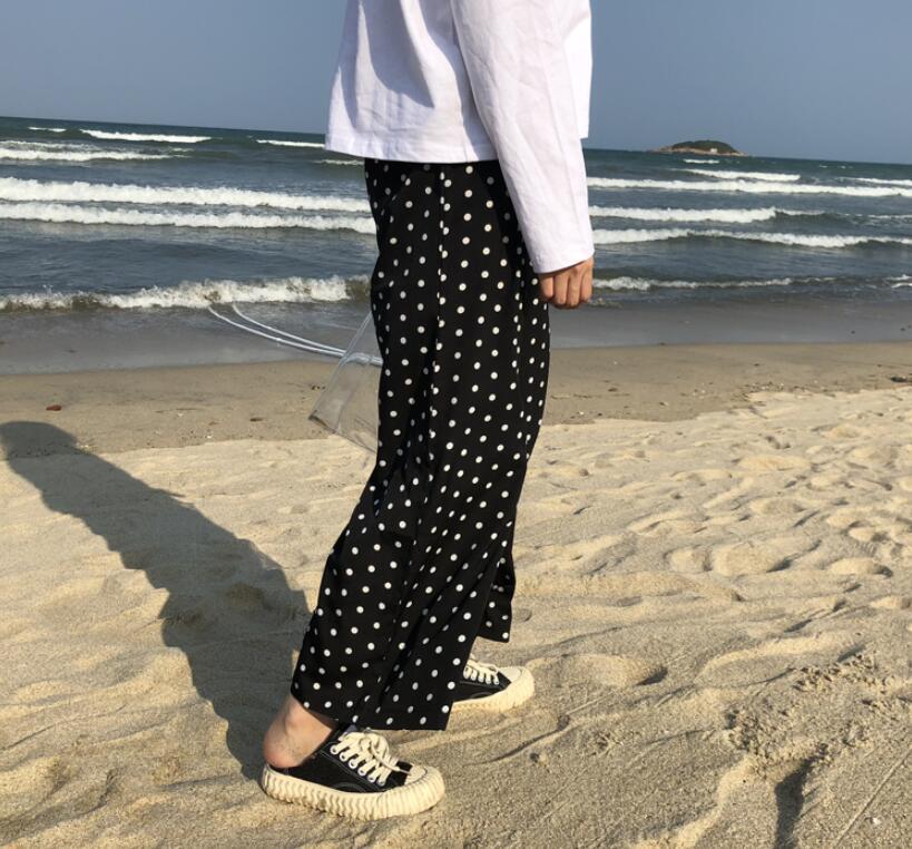 Summer loose dots chiffon   wide     leg     pants